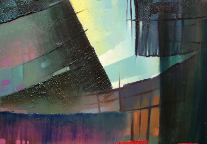 the opening in the sky, mixed media on canvas, 70 x 100cm, 2004