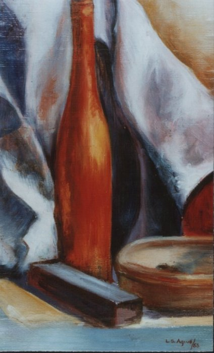Still Life with Red Bottle L Agius