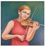 Woman with violin by J Muscat